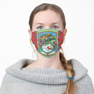 CUTE SNOWGIRL IN CHRISTMAS PARTY HAT, COLORFUL ADULT CLOTH FACE MASK