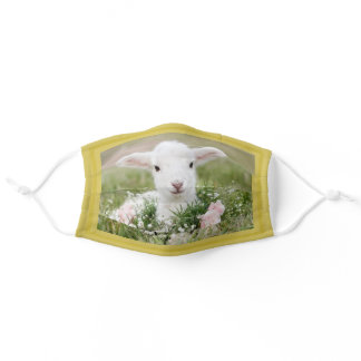 Cute Spring Lamb in the Flowers Essential Care Adult Cloth Face Mask