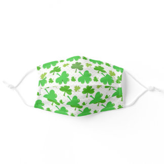 Cute St. Patricks Day Green Irish Clovers Pattern Adult Cloth Face Mask