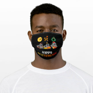 Cute Stamp Halloween Christmas Happy Thanksgiving Adult Cloth Face Mask