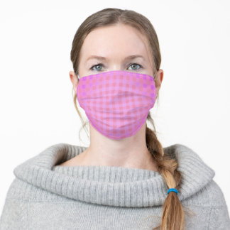 Cute Stripes and Checks Pink Adult Cloth Face Mask