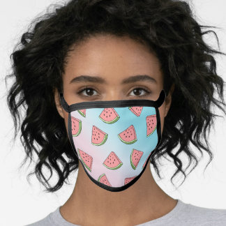 Cute summer watermelon pattern pastel pink & blue face mask