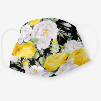 Cute Summer Yellow Roses White Floral On Black Cloth Face Mask