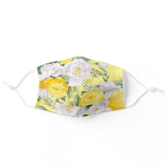 Cute Summer Yellow Roses White Floral Pattern Adult Cloth Face Mask