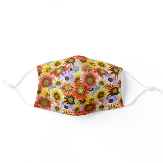 Cute Sunny Pink Violet Red Yellow Flower Pattern Adult Cloth Face Mask