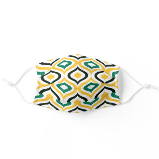 Cute Sunny Yellow Green Black Moroccan Ogee Art Adult Cloth Face Mask