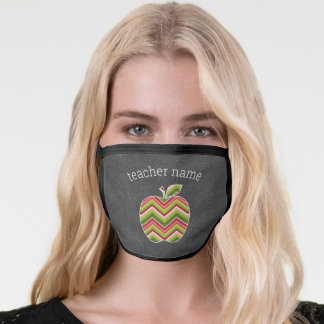Cute Teacher Apple - Red Green Chevron and Name Face Mask