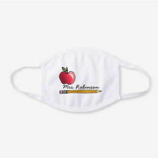Cute Teacher Red Apple and Pencil Monogram Name White Cotton Face Mask