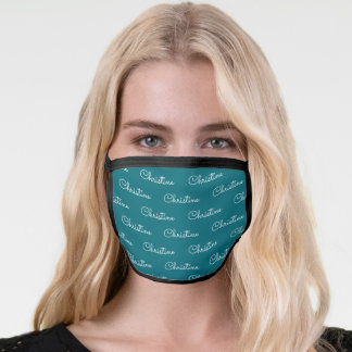 Cute Teal White Personalized First Name Pattern Face Mask