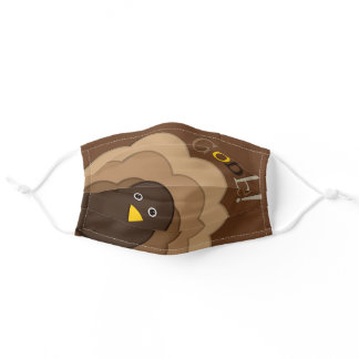 """Cute Thanksgiving Turkey """"Gobble!"""" Adult Cloth Face Mask"""