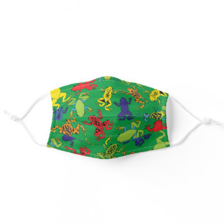 Cute Tree Frogs Colorful Cartoon Boys Print Adult Cloth Face Mask