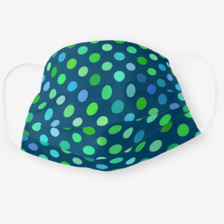 Cute Turquoise Blue Lime Green Polka Dots On Teal Adult Cloth Face Mask