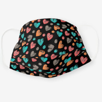 Cute Turquoise Blue Pink Orange Heart Pattern Cloth Face Mask