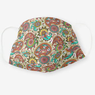 Cute Turquoise Green Yellow Pink Floral Paisley Adult Cloth Face Mask