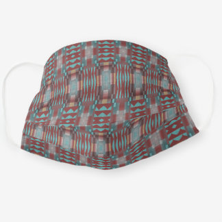 Cute Turquoise Teal Blue Red Gray Tribal Pattern Cloth Face Mask