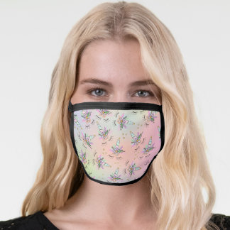 Cute unicorn floral watercolor pattern rainbow face mask
