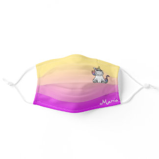 Cute Unicorn Rainbow Gradient Personalized Name Adult Cloth Face Mask