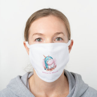 Cute Watercolor Smiling Unicorn Typography Pink White Cotton Face Mask