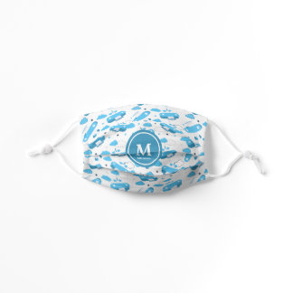 Cute White & Blue Planes and Clouds Kids Monogram Kids' Cloth Face Mask