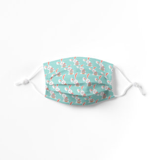 Cute White Bunny With Pink Blue Striped Easter Egg Kids' Cloth Face Mask