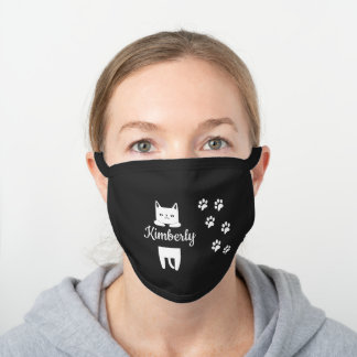 Cute white cat & paw prints with name black cotton face mask
