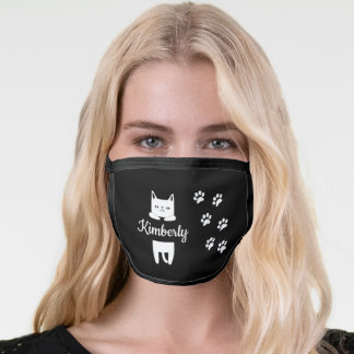 Cute white cat & paw prints with name black face mask