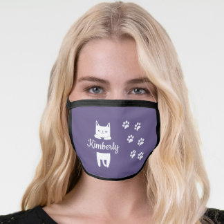 Cute white cat & paw prints with name purple face mask