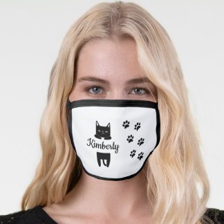 Cute white cat & paw prints with name white face mask