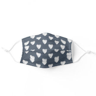 Cute White Hearts Pattern Navy Blue Adult Cloth Face Mask