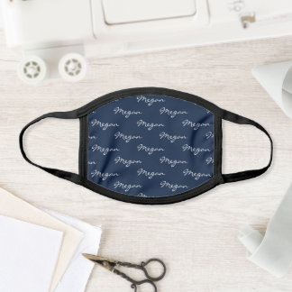 Cute White Navy Personalized First Name Pattern Face Mask