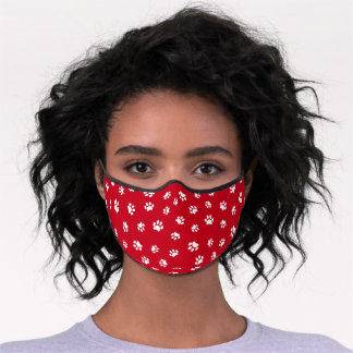 Cute White Paw Prints Pattern Red Premium Face Mask