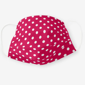 Cute White Polka Dots Pattern On Carmine Red Cloth Face Mask