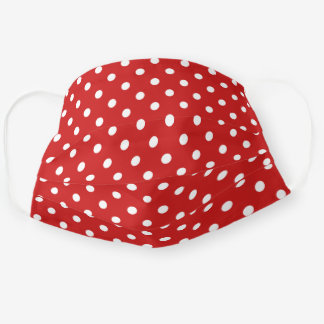 Cute White Polka Dots Pattern On Classic Red Cloth Face Mask