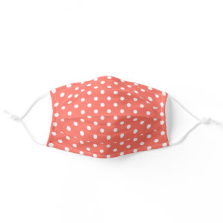 Cute White Polka Dots Pattern On Coral Orange Red Adult Cloth Face Mask