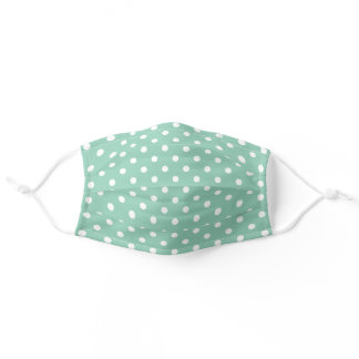 Cute White Polka Dots Pattern On Light Mint Green Adult Cloth Face Mask
