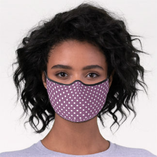 Cute White Polka Dots Pattern On Mauve Taupe Pink Premium Face Mask