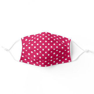 Cute White Polka Dots Pattern On Pink Red Adult Cloth Face Mask
