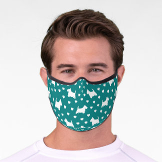 Cute White Scottish Terriers & Hearts - Teal Green Premium Face Mask