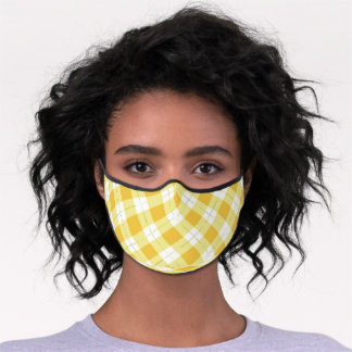 Cute yellow and gold plaid face mask