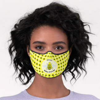 Cute Yellow Baby Bee Gender Neutral Baby Shower Premium Face Mask