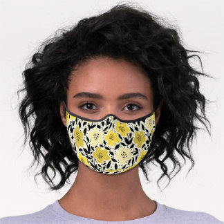 Cute Yellow Gray Floral Daisy Pattern Premium Face Mask
