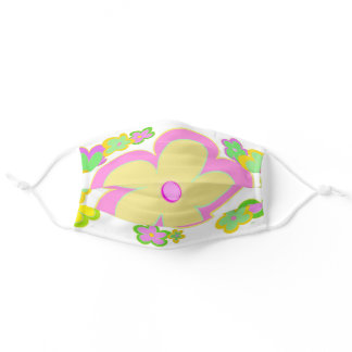 Cute Yellow Pink Green Modern floral digital art Adult Cloth Face Mask