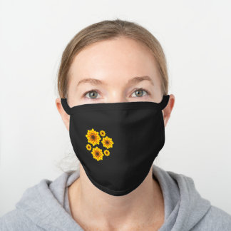 Cute Yellow Sunflowers, Floral Black Cotton Face Mask