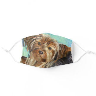 Cute Yorkie on Teal, Or DIY Art or Photo, Vs 2 Adult Cloth Face Mask