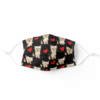 Cute Yorkies With Hearts Face Mask