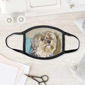 Cute Yorkshire Terrier Digital Painting Face Mask