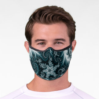 Cyan and White Fractal Pattern. Premium Face Mask