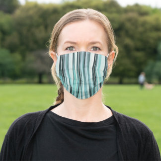 Cyan Blue Ocean Stripey Lines Pattern Adult Cloth Face Mask