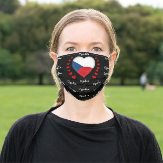 Czech Flag & Heart, Czech Republic Flag fashion Adult Cloth Face Mask