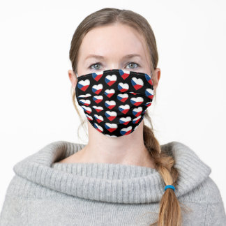 Czech Hearts & Czech Flag fashion /Czechia Adult Cloth Face Mask